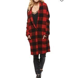 DEX Buffalo plaid knit pockets sweater coat